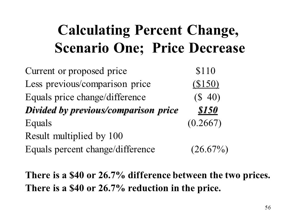 Calculating Percent Change, Scenario One; Price Decrease