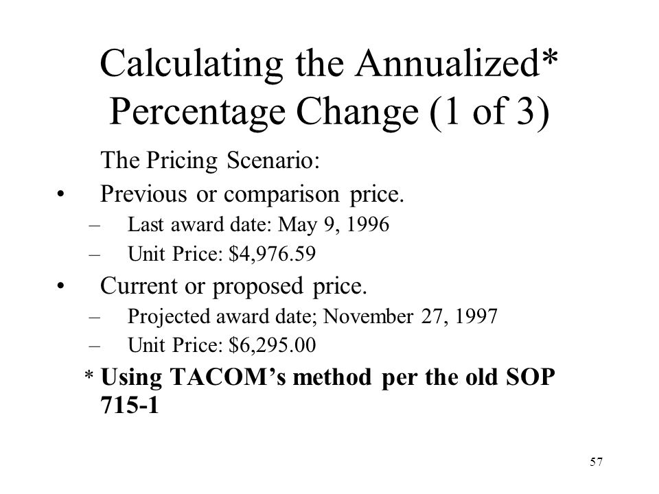Calculating the Annualized* Percentage Change (1 of 3)
