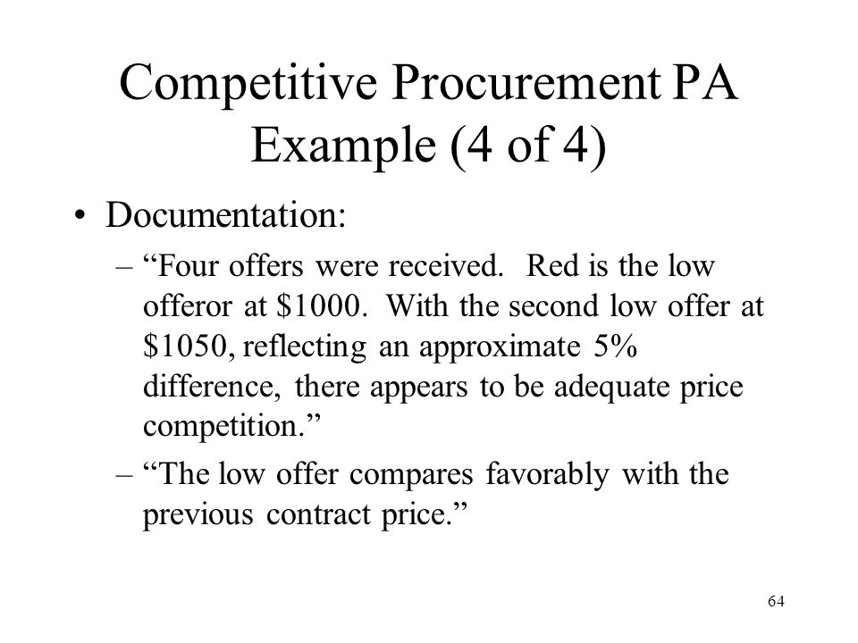 Competitive Procurement PA Example (4 of 4)