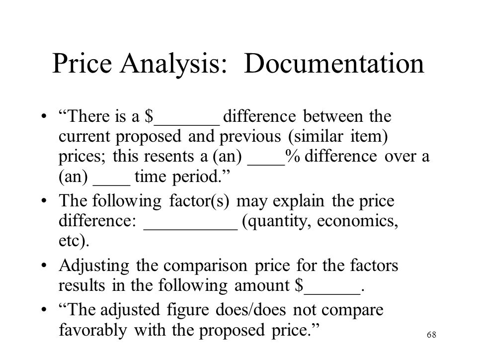 Price Analysis: Documentation