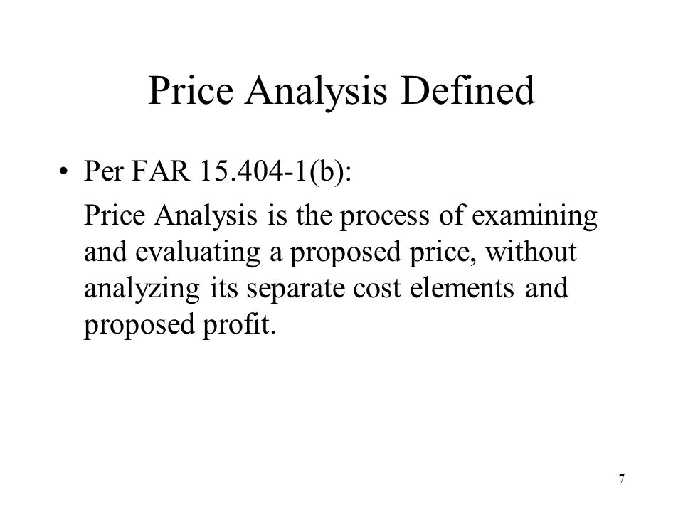 Price Analysis Defined