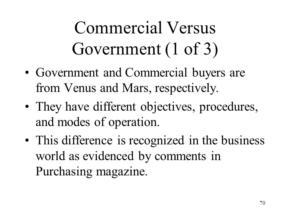 Commercial Versus Government (1 of 3)