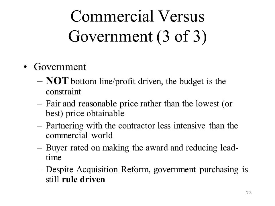 Commercial Versus Government (3 of 3)