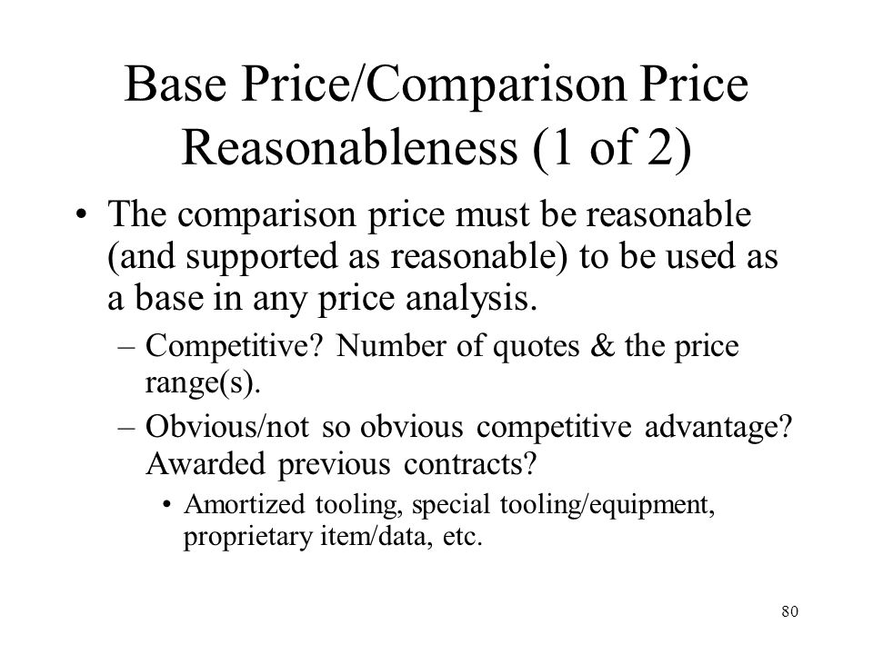 Base Price/Comparison Price Reasonableness (1 of 2)