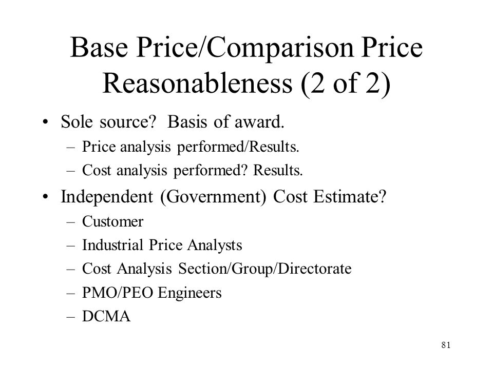 Base Price/Comparison Price Reasonableness (2 of 2)