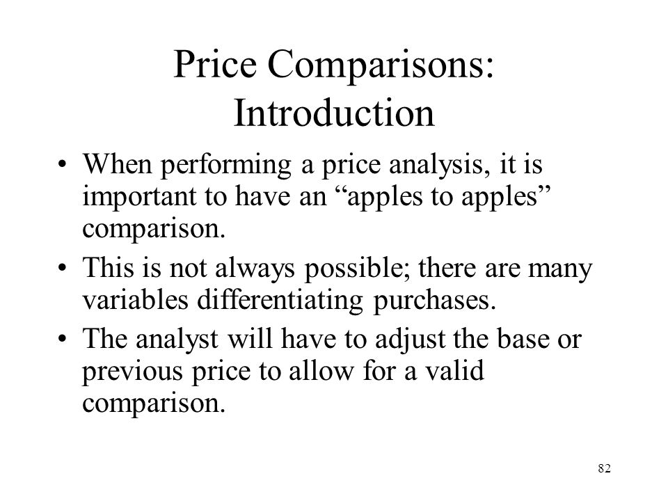 Price Comparisons: Introduction