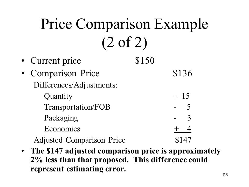 Price Comparison Example (2 of 2)