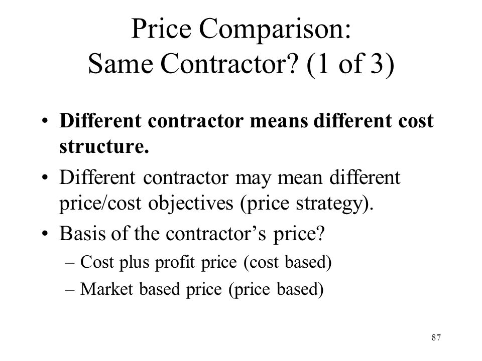 Price Comparison: Same Contractor (1 of 3)