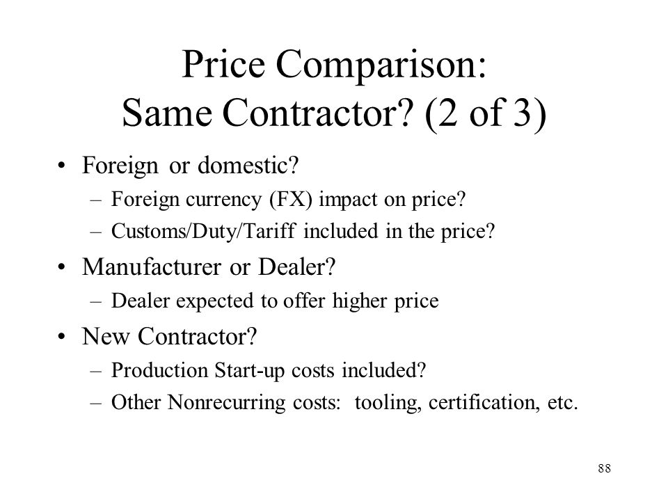 Price Comparison: Same Contractor (2 of 3)