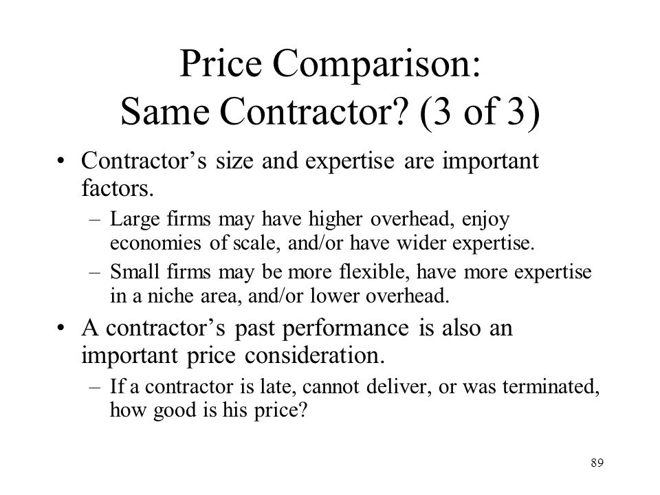 Price Comparison: Same Contractor (3 of 3)