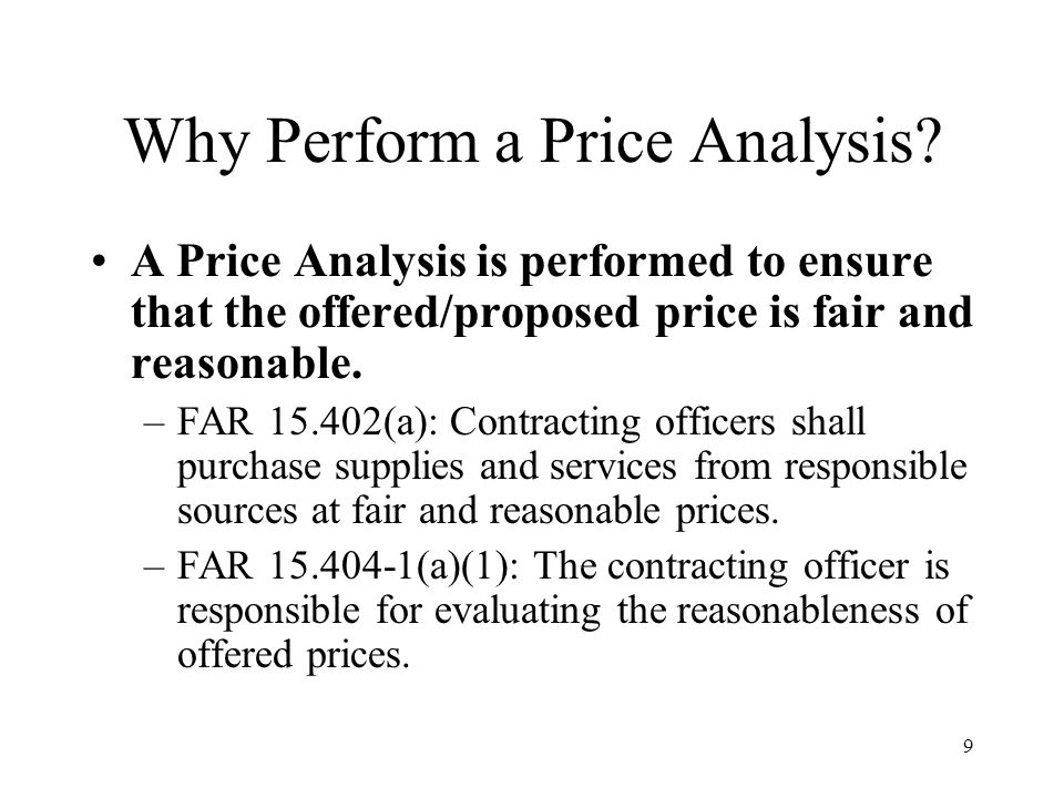 Why Perform a Price Analysis