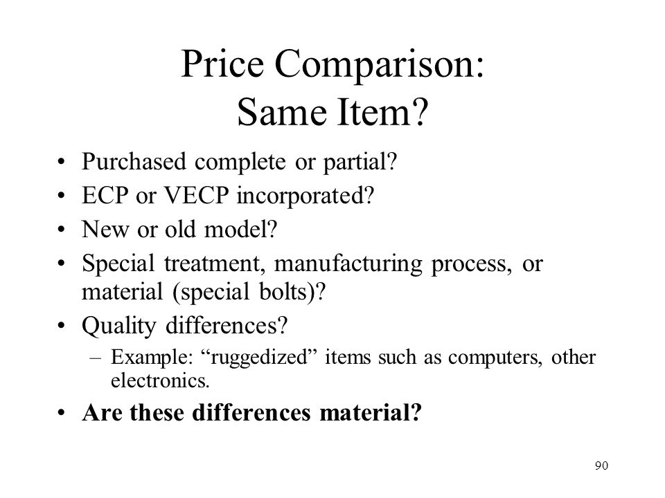 Price Comparison: Same Item