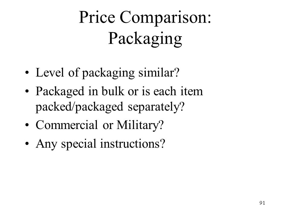 Price Comparison: Packaging