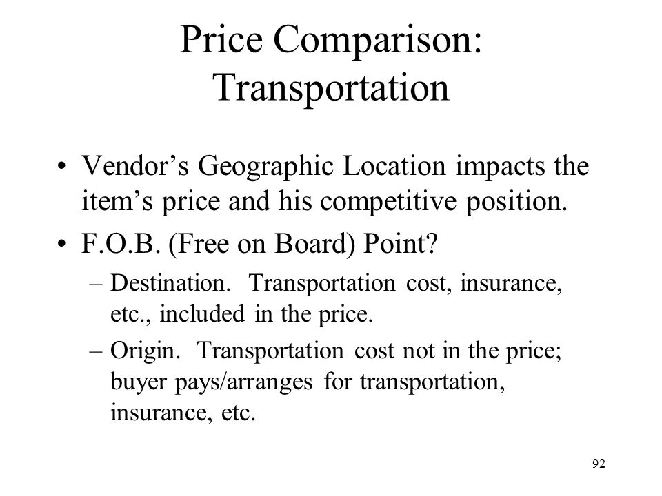 Price Comparison: Transportation