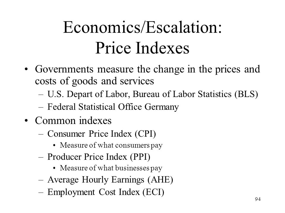 Economics/Escalation: Price Indexes