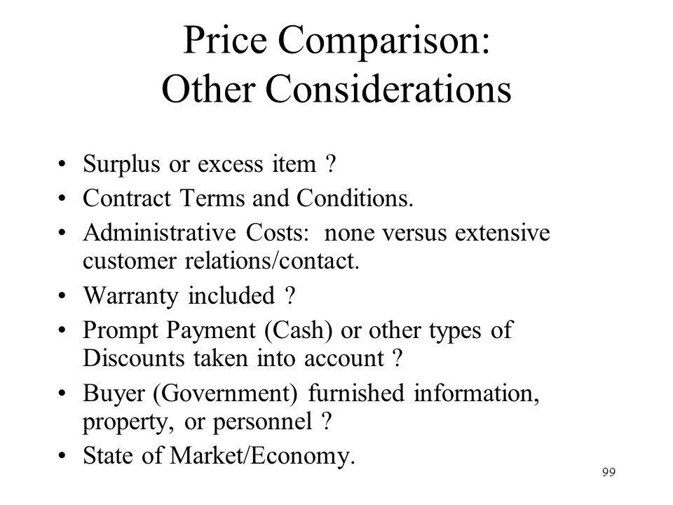 Price Comparison: Other Considerations