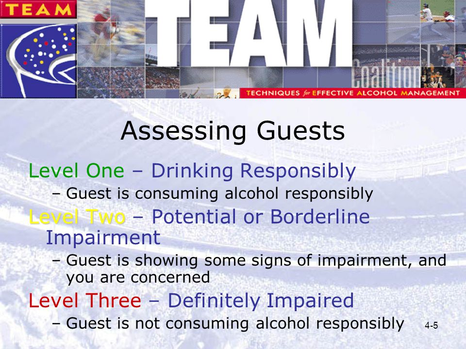 Assessing Guests Level One – Drinking Responsibly
