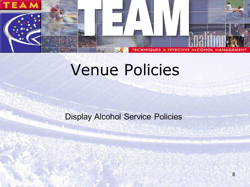 Venue Policies Display Alcohol Service Policies