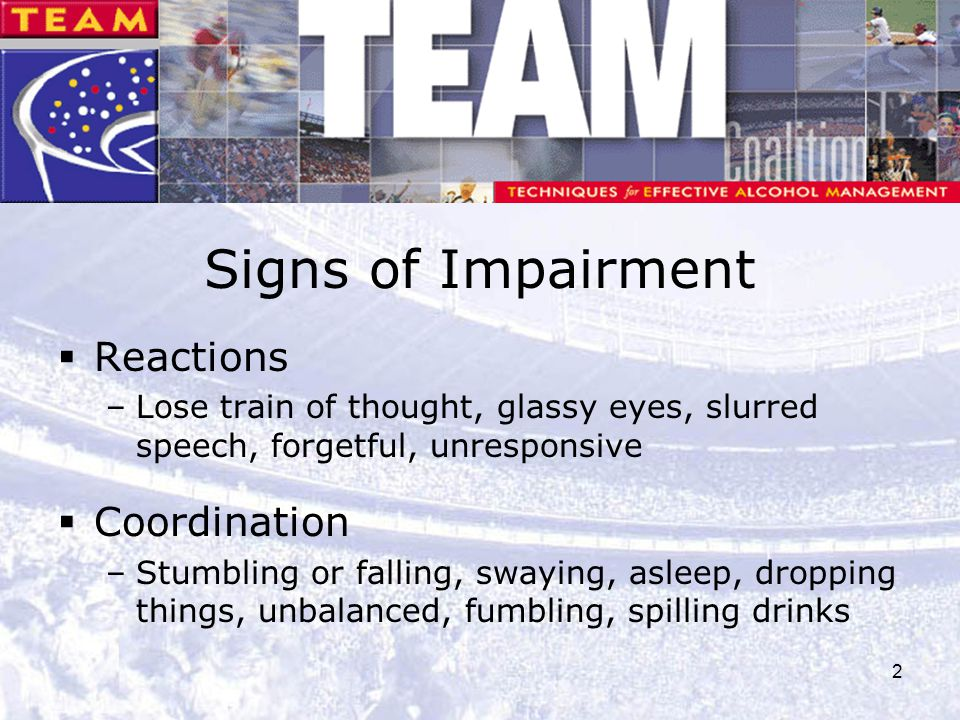 Signs of Impairment Reactions Coordination