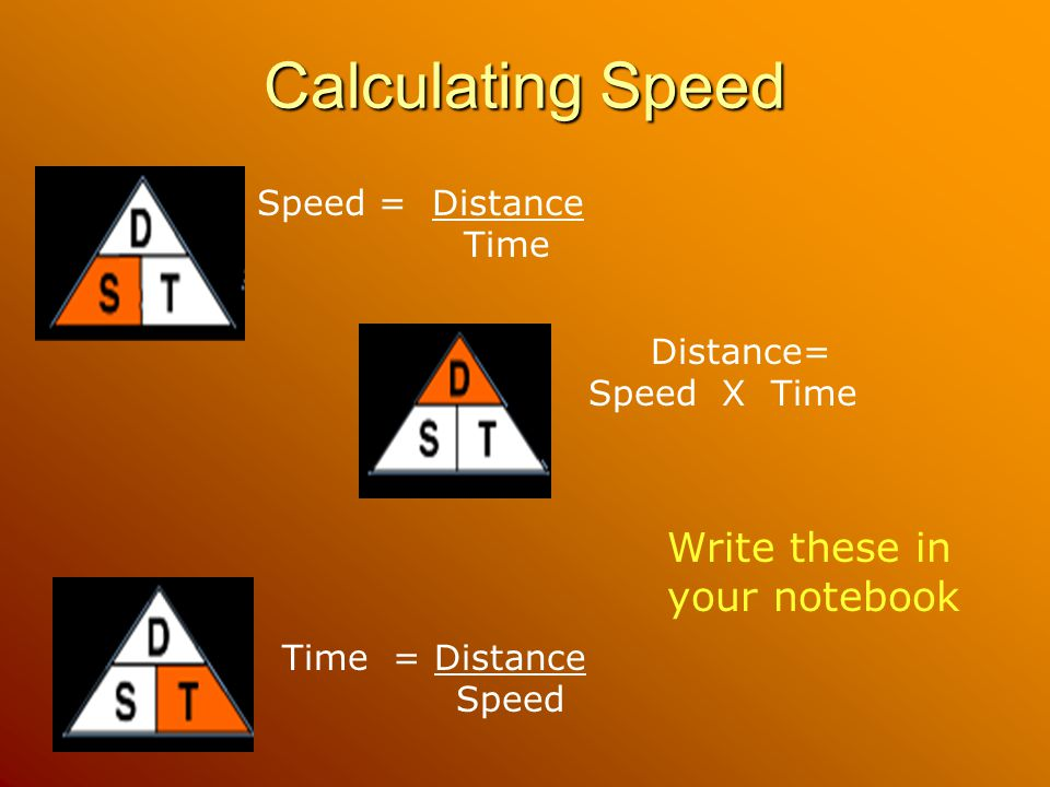 Calculating Speed Write these in your notebook Speed = Distance Time