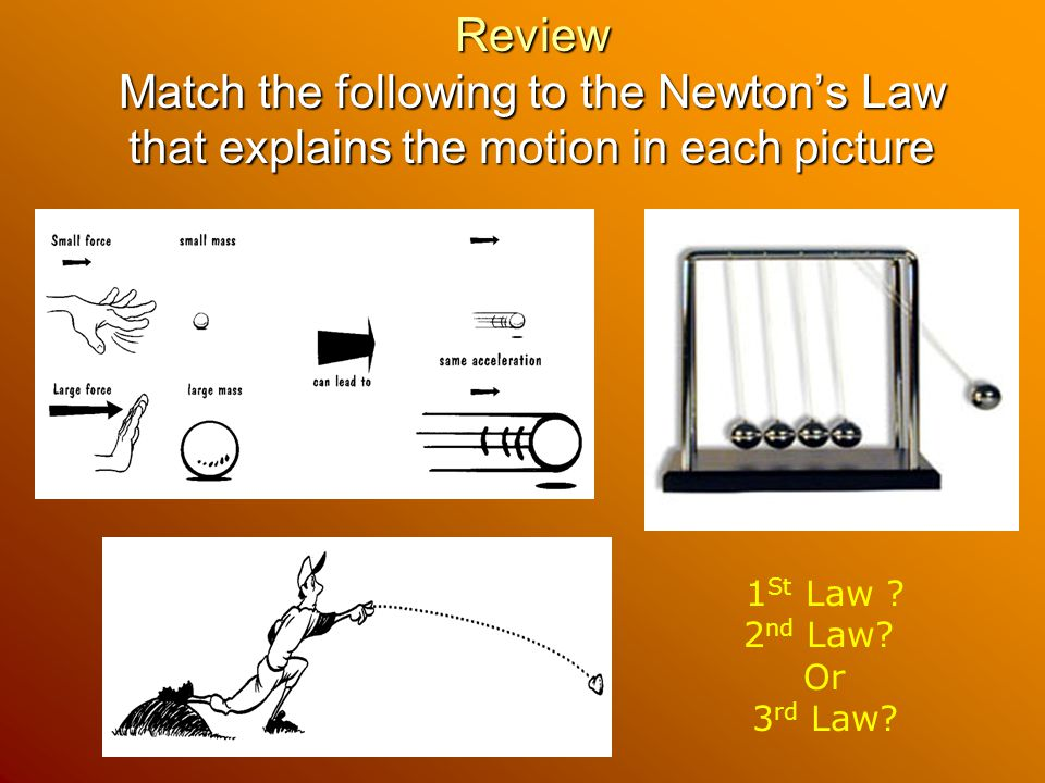 Review Match the following to the Newton's Law that explains the motion in each picture