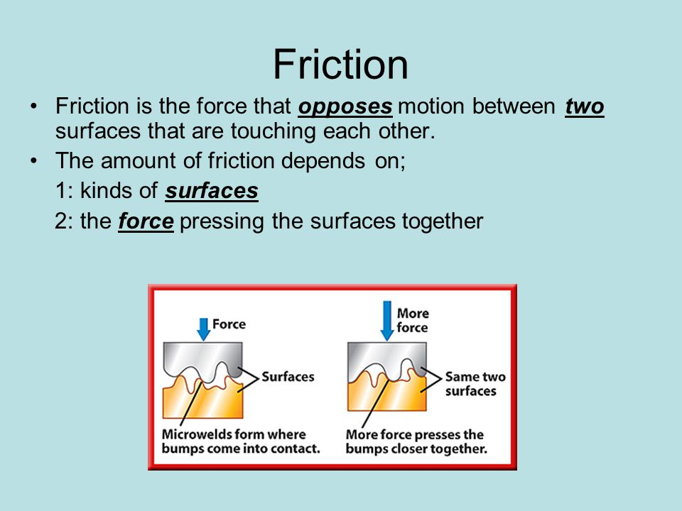 Friction Friction is the force that opposes motion between two surfaces that are touching each other.