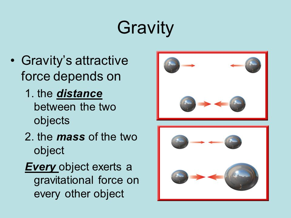 Gravity Gravity's attractive force depends on