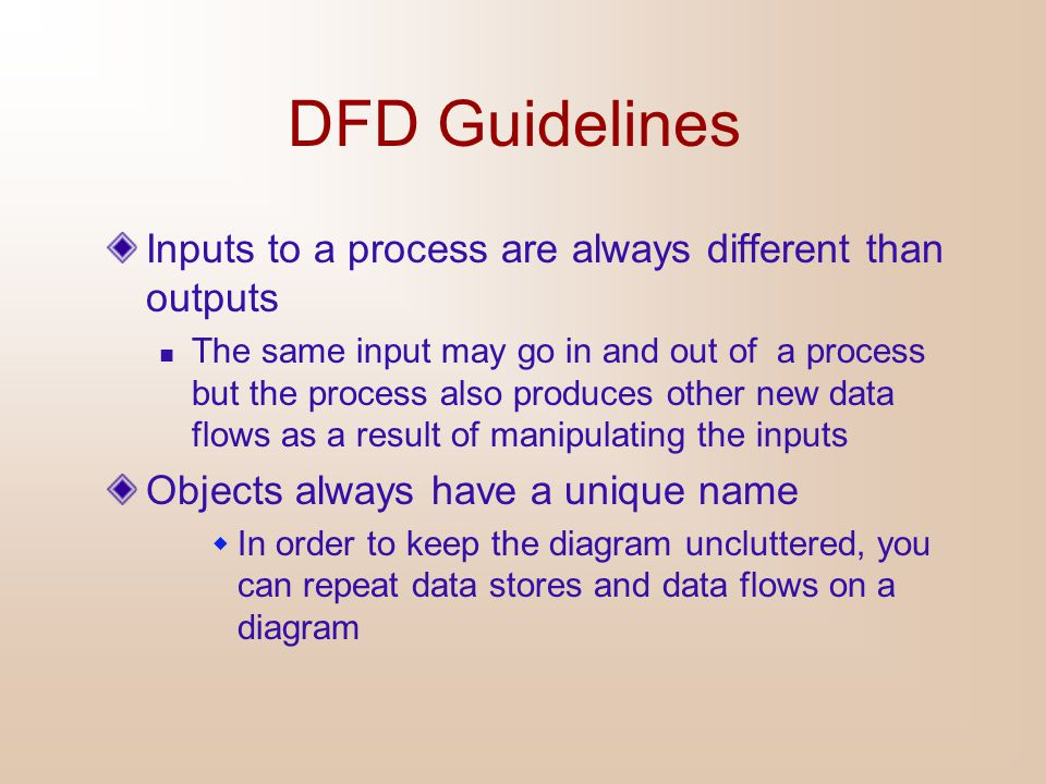 DFD Guidelines Inputs to a process are always different than outputs
