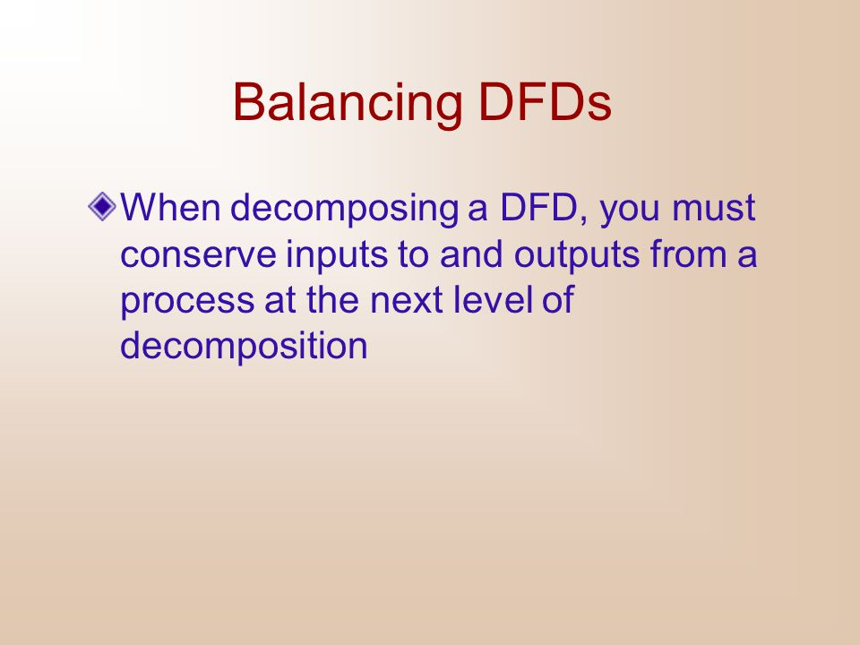 Balancing DFDs When decomposing a DFD, you must conserve inputs to and outputs from a process at the next level of decomposition.