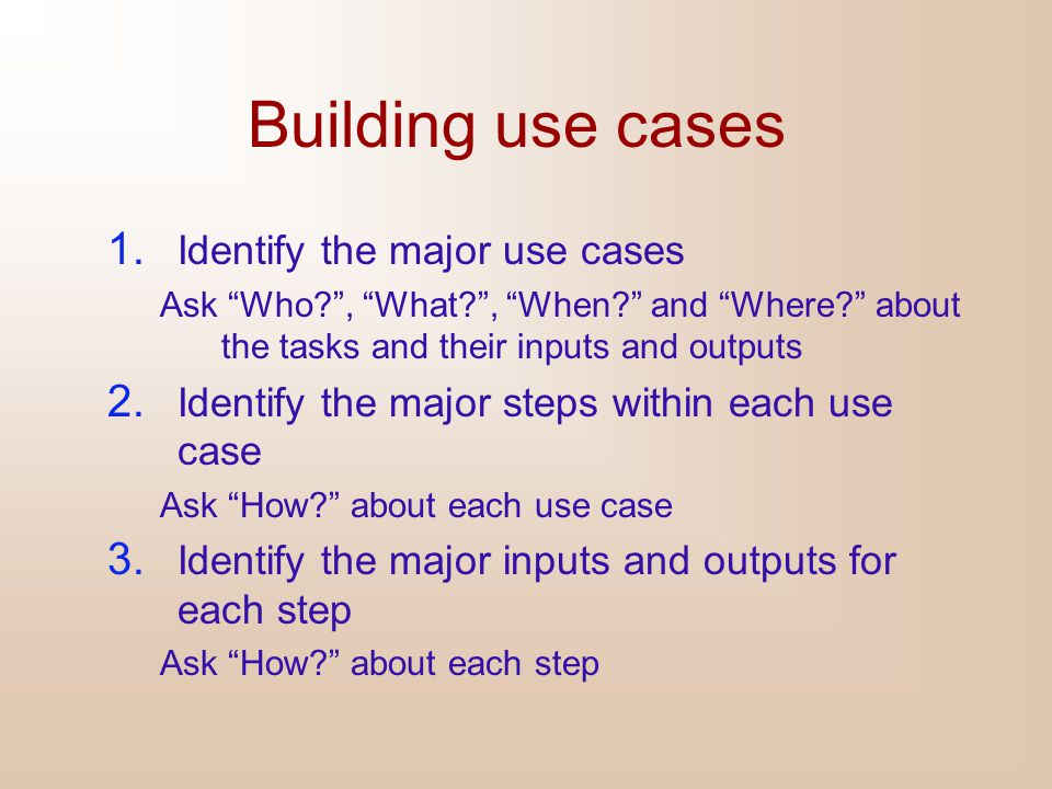 Building use cases Identify the major use cases