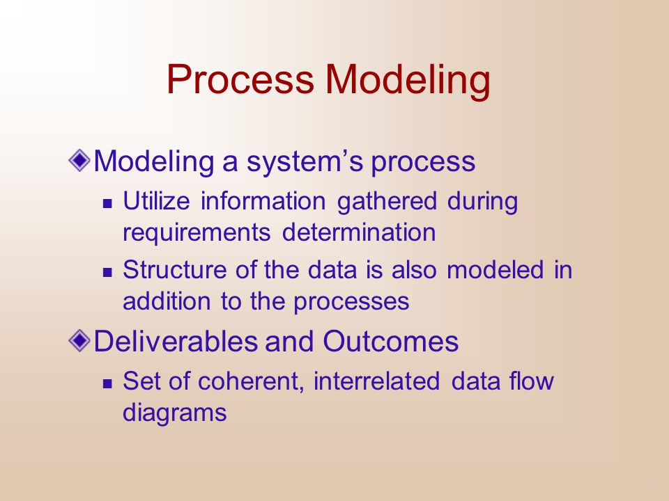 Process Modeling Modeling a system's process Deliverables and Outcomes