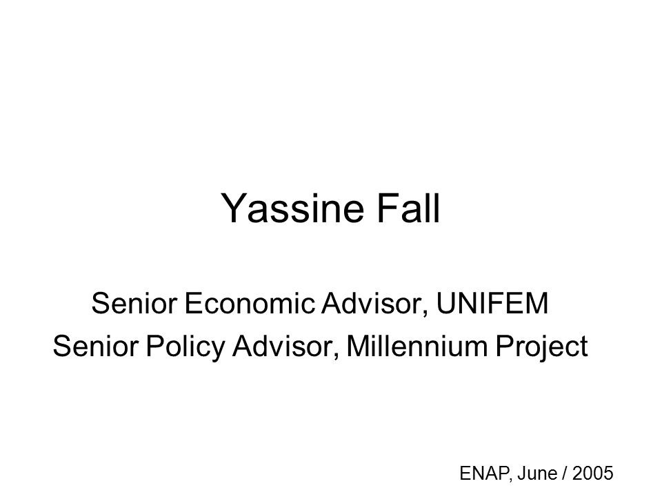 Yassine Fall Senior Economic Advisor, UNIFEM