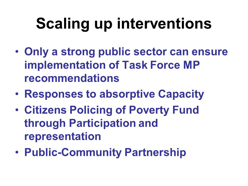 Scaling up interventions
