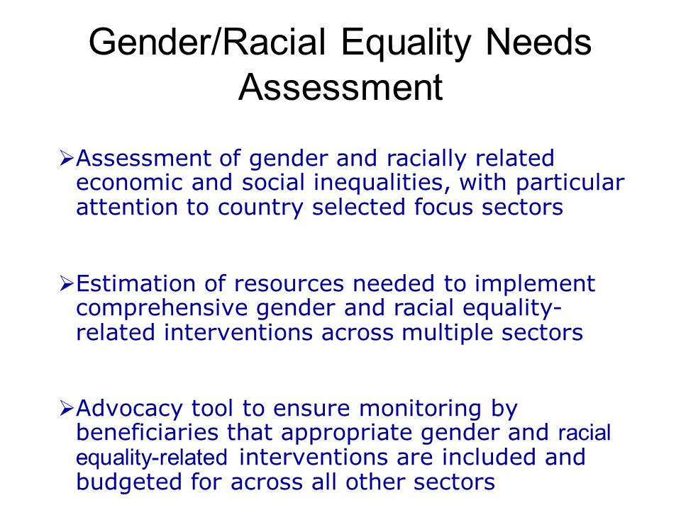 Gender/Racial Equality Needs Assessment