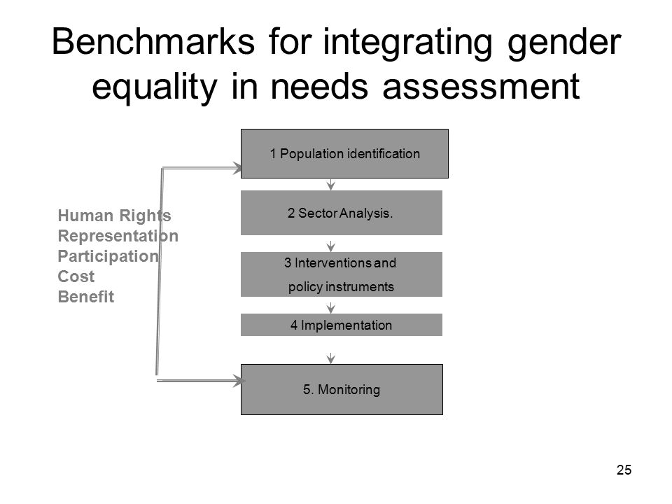 Benchmarks for integrating gender equality in needs assessment