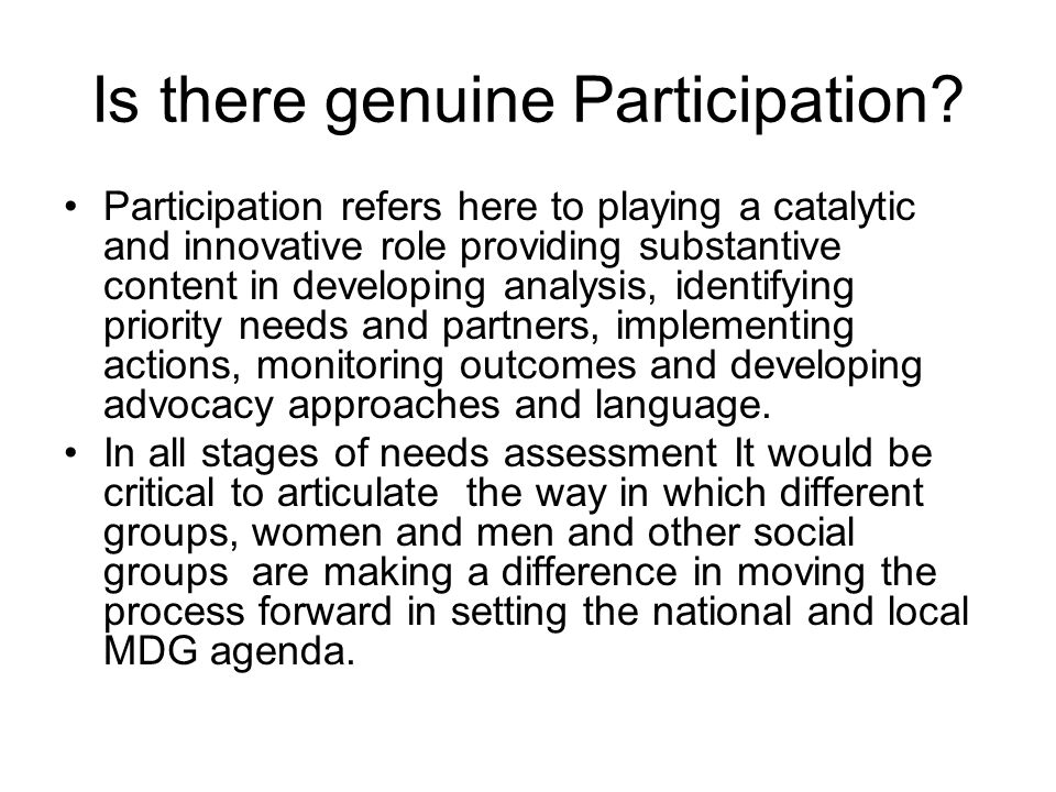 Is there genuine Participation