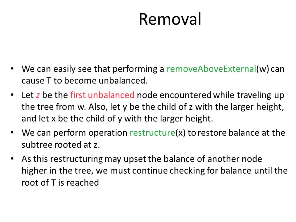 Removal We can easily see that performing a removeAboveExternal(w) can cause T to become unbalanced.