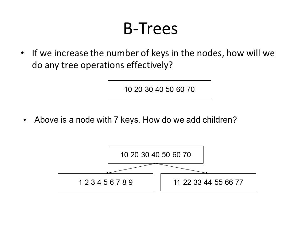B-Trees If we increase the number of keys in the nodes, how will we do any tree operations effectively