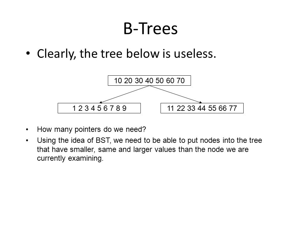 B-Trees Clearly, the tree below is useless. 10 20 30 40 50 60 70