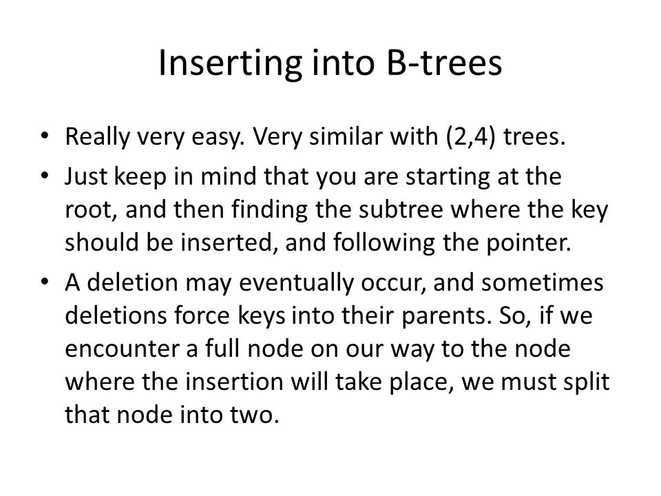Inserting into B-trees