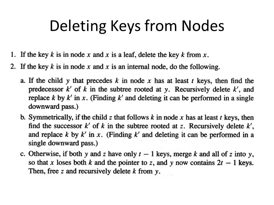 Deleting Keys from Nodes