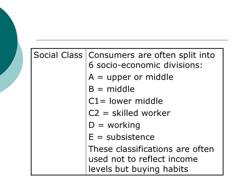 Social Class Consumers are often split into 6 socio-economic divisions: A = upper or middle. B = middle.