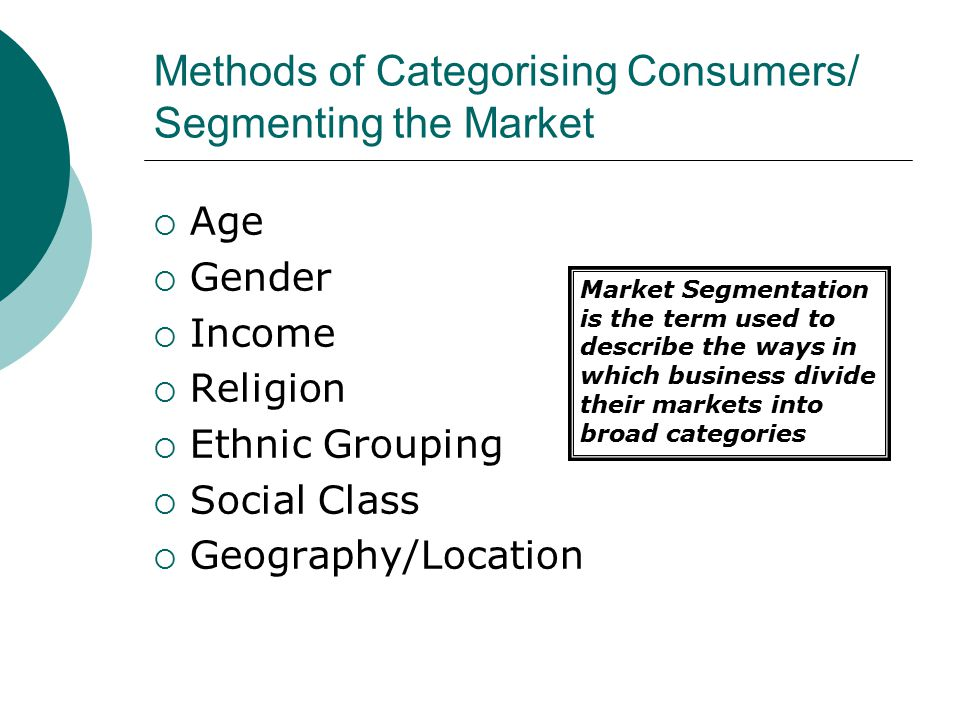 Methods of Categorising Consumers/ Segmenting the Market