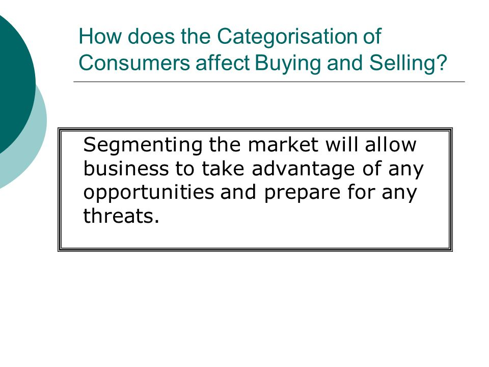 How does the Categorisation of Consumers affect Buying and Selling