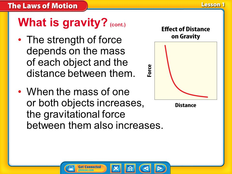 What is gravity (cont.) The strength of force depends on the mass of each object and the distance between them.