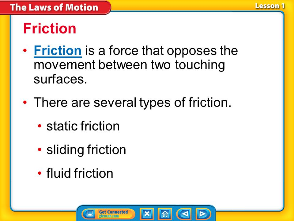 Friction Friction is a force that opposes the movement between two touching surfaces. There are several types of friction.