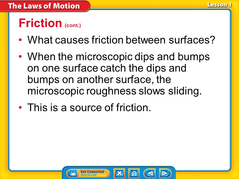 Friction (cont.) What causes friction between surfaces