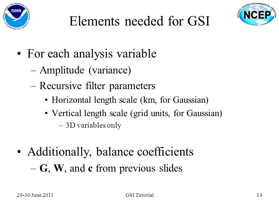 Elements needed for GSI