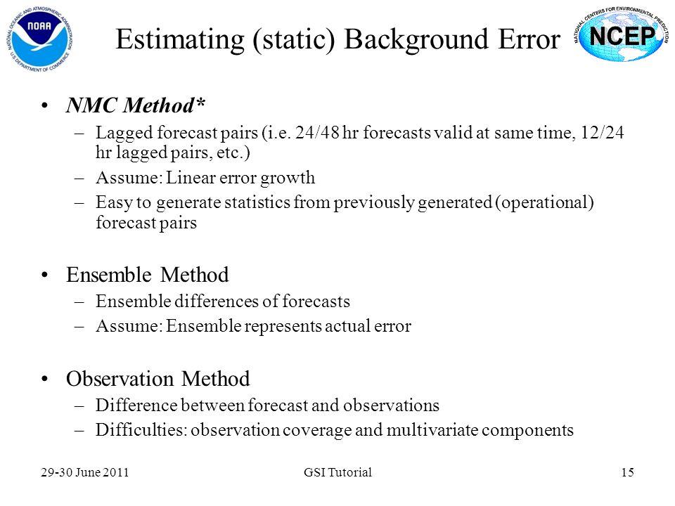 Estimating (static) Background Error