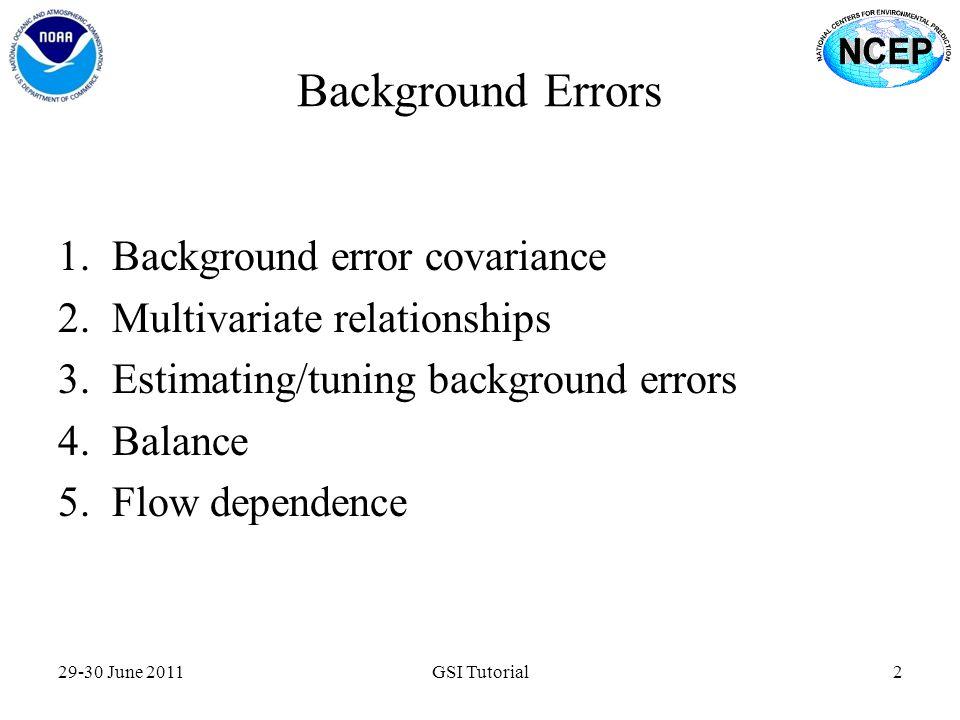 Background Errors Background error covariance